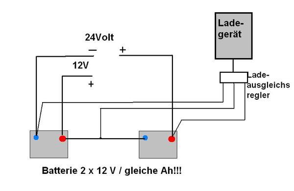 2x 12 in reihe   24volt und 2x 12 volt